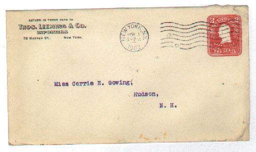 return address is thomas leeming co importers 73 warren st ny postmarked apr 2 1907 6pm in new york ny
